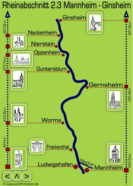 Schiff Mieten Oberrhein Landkarte Mannheim Rhein 2018 2019